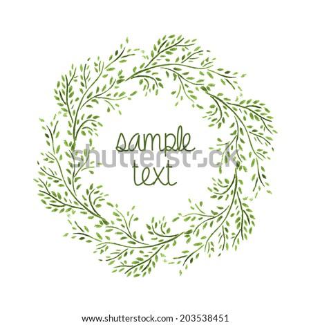 Watercolor Wreath. Branch Frame. Hand Drawn Illustration. Vector. - stock vector