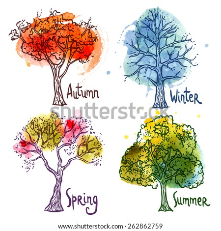 Watercolor year seasons tree decorative icons set isolated vector illustration - stock vector
