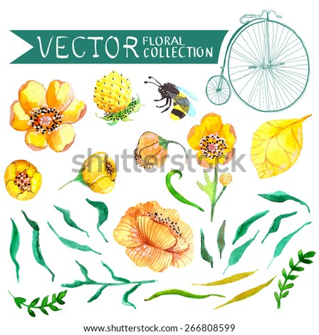Watercolor yellow and green flowers and bee collection for wedding design Vector - stock vector