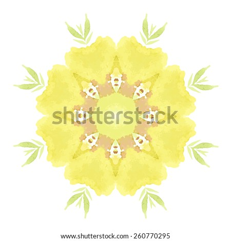 Watercolor Yellow Flower Mandala. Lace circular ornament on white background. Oriental Geometric circle element. Vector illustration. - stock vector
