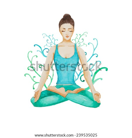 Watercolor Yoga girl. Hand drawn meditation illustration in vector with floral background. - stock vector