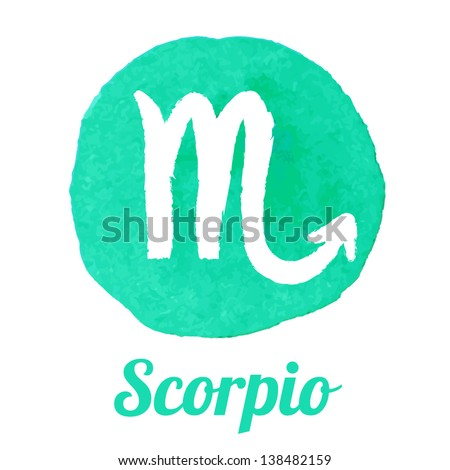 Watercolor zodiac icon set: Scorpio, vector sign - stock vector