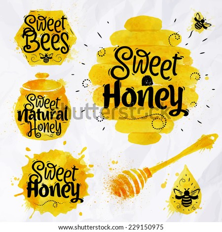 Watercolors of symbols on the topic of honey honeycomb, beehive, spot, the keg with lettering sweet honey, natural honey, sweet bees - stock vector