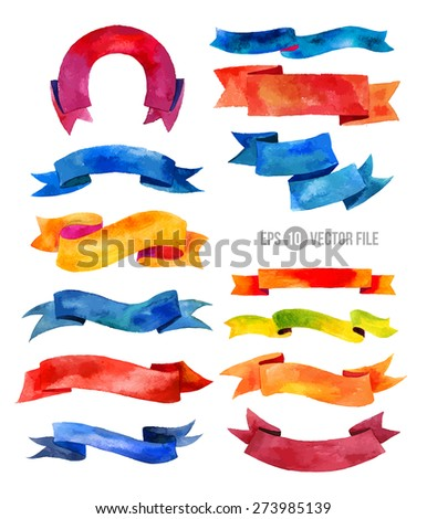 Watercolors ribbons and banners for text. Collection of Watercolor design elements,  ribbons. Hand drawn abstract colorful stripes. - stock vector