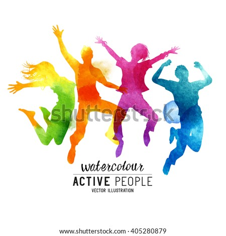 Watercolour Jumping People Vector. A group of freinds jumping into the air. Vector illustration. - stock vector