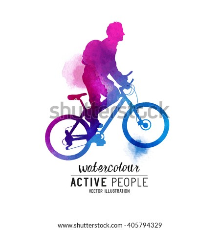 Watercolour Man Riding A Bike. A cyclist keeping fit. Vector illustration. - stock vector