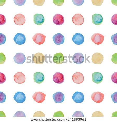 Watercolour polka dot seamless pattern. Vector illustration. - stock vector