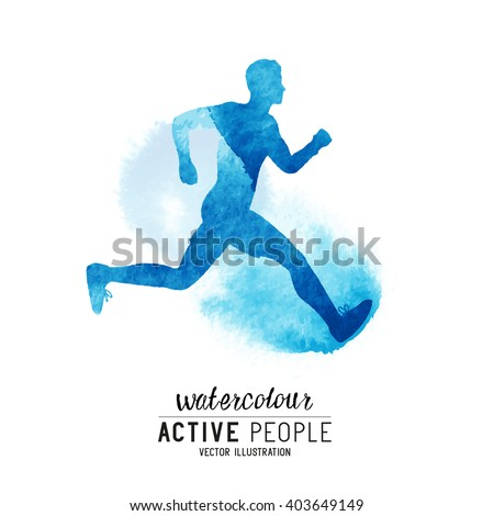 Watercolour running man Vector. Active people running. Watercolour style. Vector illustration. - stock vector