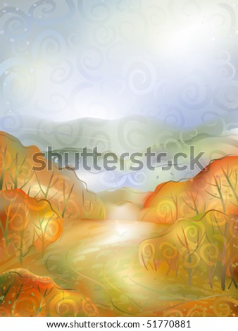 Watercolour-stylized vector of a calm autumn scenery - small path winding between red bushes (AI-optimized EPS 8 file, other landscapes are in my gallery)