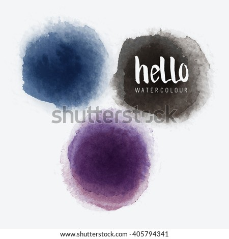 Watercolour Vector Circles.Vector watercolour label stains. Vector illustration. - stock vector