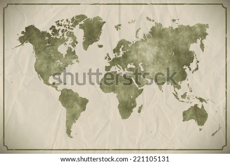 Watercolour world map on aged, crumpled paper background. EPS10 vector format - stock vector