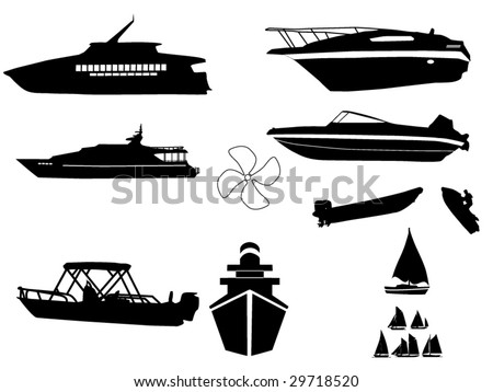 watercraft silhouettes compilation 1 - stock vector