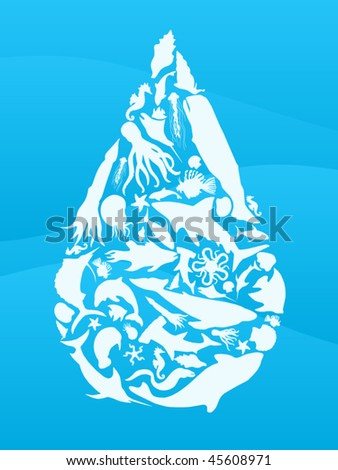 Waterdrop illustration made from sea creature silhouettes - stock vector