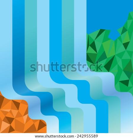 waterfall abstract illustration - stock vector