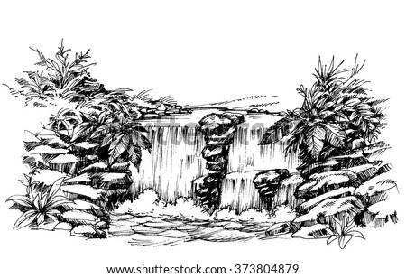 Waterfall drawing, flowing river sketch - stock vector