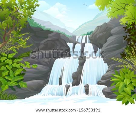 Waterfall in hills - stock vector