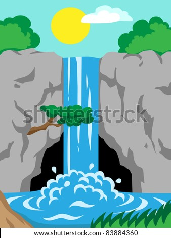 Waterfall in mountains,  vector illustration - stock vector