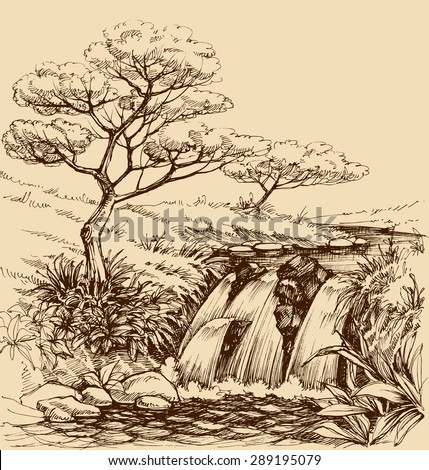 Waterfall landscape - stock vector