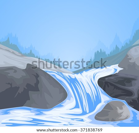 Waterfall scene vector nature landscape background