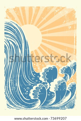 Waterfall.Vector grunge blue water waves background with sun - stock vector