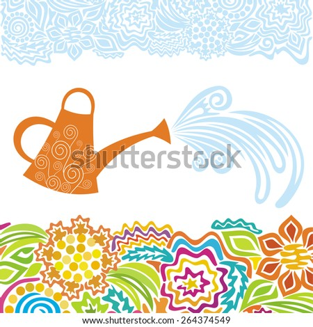 Watering can and beautiful flowers vector illustration - stock vector