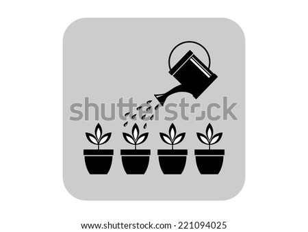 Watering can and plants - stock vector