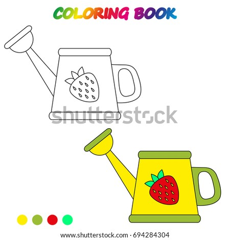 Watering Can Coloring Book Coloring Page Stock Photo (Photo, Vector ...