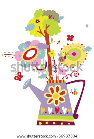 Watering can design with flowers, insects and tree. Symbol for gardening, importance of water, growth, ecology etc. - stock vector