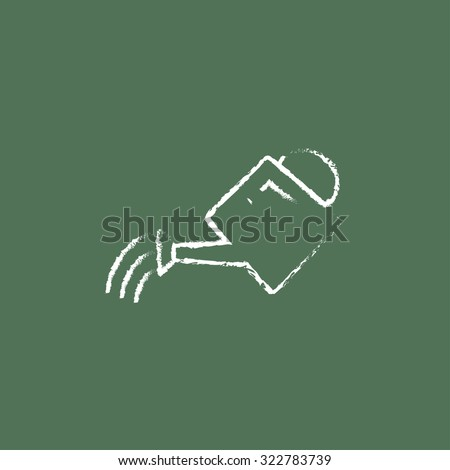 Watering can hand drawn in chalk on a blackboard vector white icon isolated on a green background. - stock vector