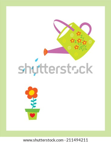 watering can plant flower vector - stock vector