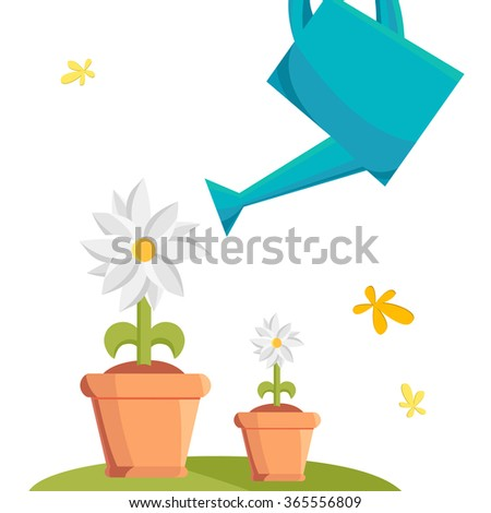 Watering flower. doodle illustration isolated on the background. Vector Illustration, eps10, contains transparencies. - stock vector