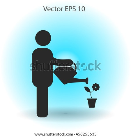 watering flowers vector icon