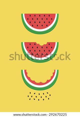 watermelon card.vector illustration - stock vector