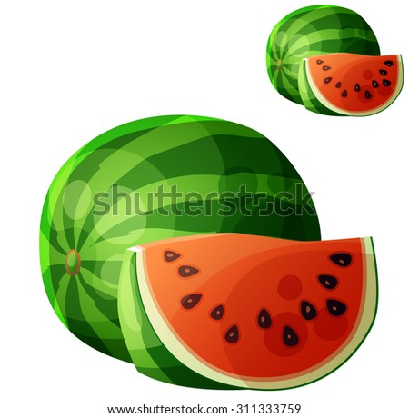 Watermelon. Cartoon vector icon isolated on white background. Series of food and drink and ingredients for cooking. - stock vector