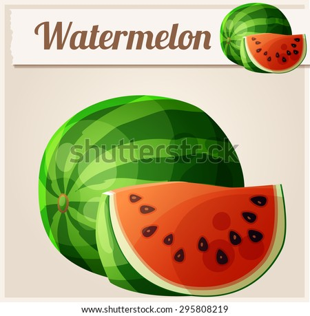 Watermelon. Cartoon vector icon. Series of food and drink and ingredients for cooking. - stock vector
