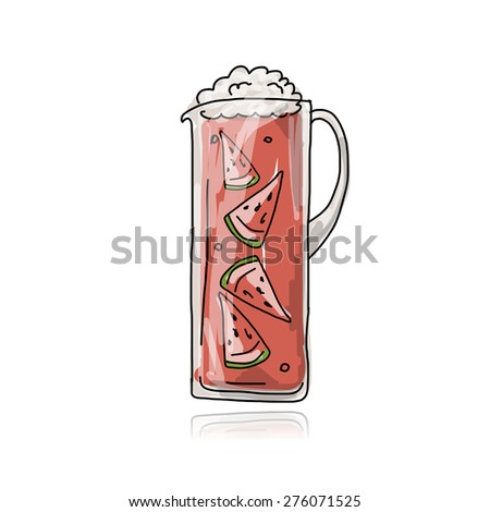 Watermelon cocktail in jug, sketch for your design. Vector illustration - stock vector