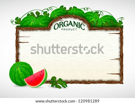 watermelon menu board - stock vector