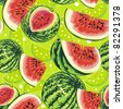 Watermelon on green background. Abstract Elegance seamless food pattern, vector illustration - stock vector
