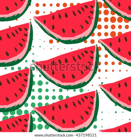 Watermelon pattern. Geometric retro style 80s - 90s. Summer funny vivid texture with triangles and fruits - stock vector