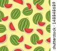 Watermelon seamless background. Vector illustration. - stock