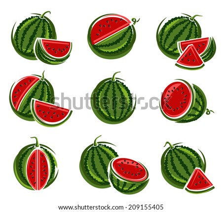 Watermelon set. Vector - stock vector