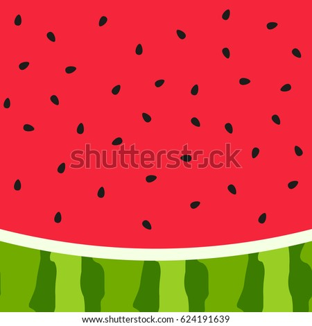 Watermelon slice background with seed and skin texture