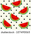 Watermelon slices on polka dot background. Seamless pattern. - stock vector