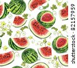Watermelon with green leaves on white background. Abstract Elegance seamless food pattern, vector illustration - stock vector