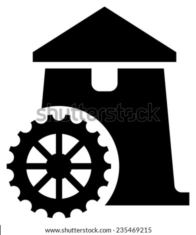 Watermill icon - stock vector