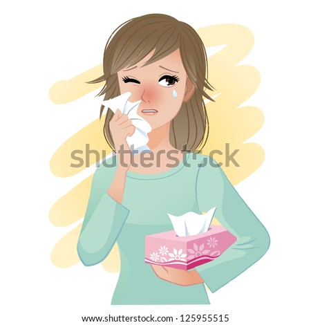 Watery eyed woman holding facial tissue box. Vector. - stock vector