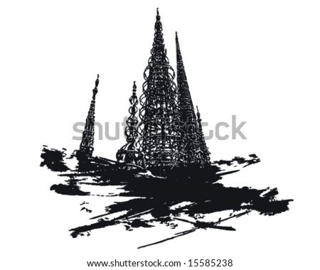 Watts Towers t-shirt design graphic, easily change colors - stock vector