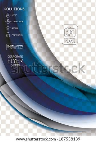 Wave abstract corporate flyer print design - stock vector