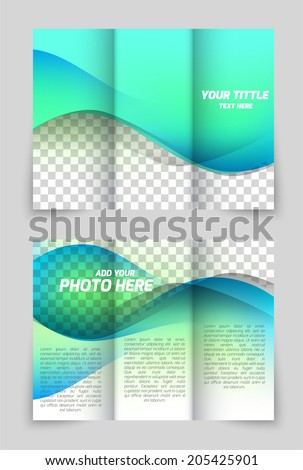 Wave aqua style brochure design for folder flyer template - stock vector
