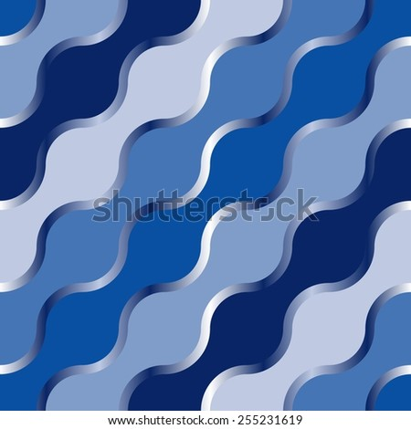 Wave background. Seamless pattern with blue elements - stock vector
